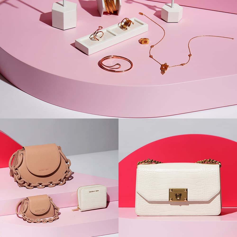 Women's cream croc-effect chain strap crossbody bag, cream croc-effect small zip-around wallet, blush chunky chain link small shoulder bag,  blush chunky chain handle mini bag, crazy agate stone double layer bracelet in gold, labradorite stone double layer bracelet in rose gold, rose quartz cuff bracelet in gold, crazy agate stone necklace in gold, labradorite stone necklace in rose gold, crazy agate stone ring in gold, labradorite stone ring in rose gold, rose quartz open ring in gold, labradorite stone dangle earrings in gold, crazy agate stone dangle earrings in rose gold, and malachite & pyrite gemstone drop earrings in gold - CHARLES & KEITH