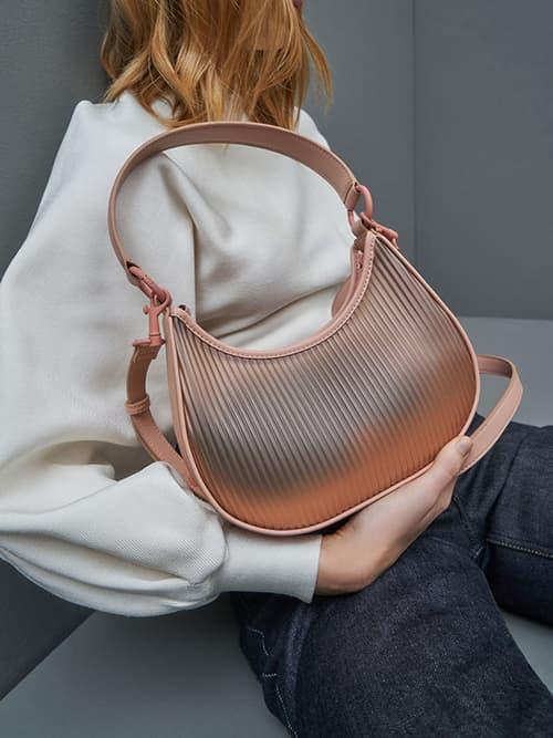 Acrylic Chain Handle Hobo Bag, Blush