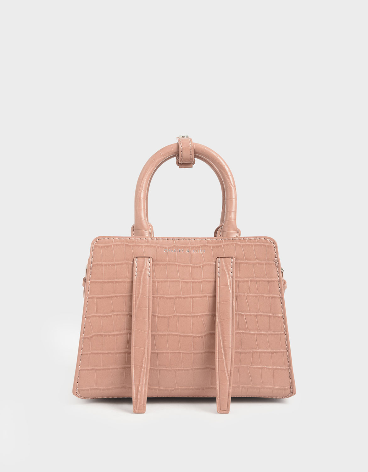 Women's blush croc-effect top handle bag