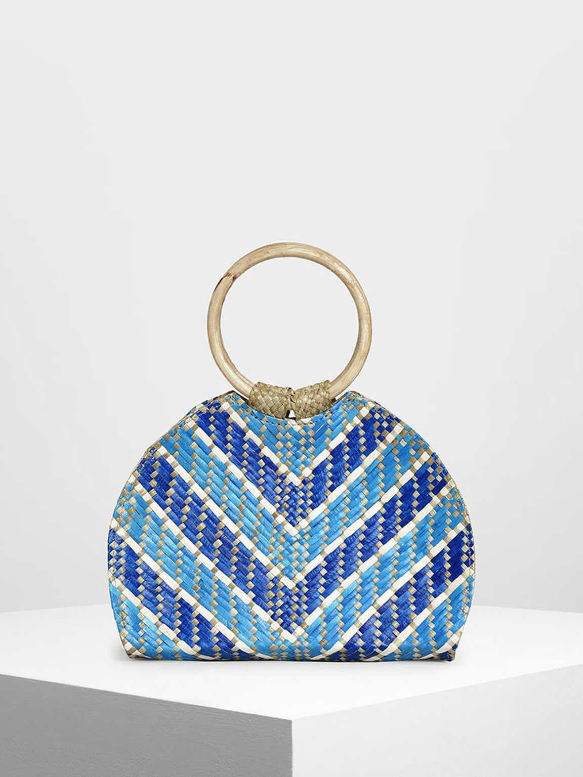 CK-IWD-BAG Handwoven Two-Tone Circle Top Handle Banig Bag