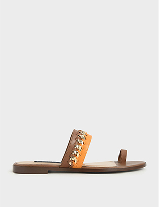 LEATHER CHAIN-LINK TOE LOOP SANDALS
