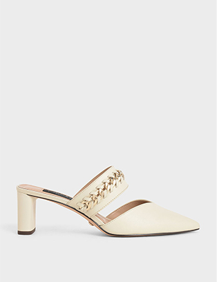 LEATHER CHAIN-LINK MULES