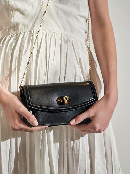 Stone-Embellished Curved Long Wallet, Black