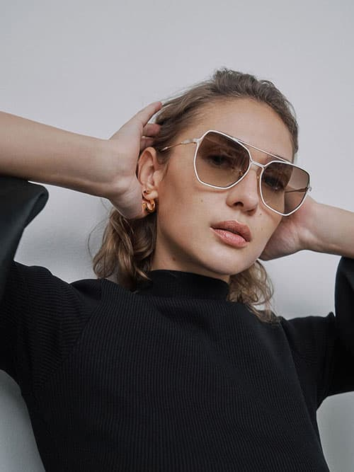 Tinted Butterfly Sunglasses, Cream