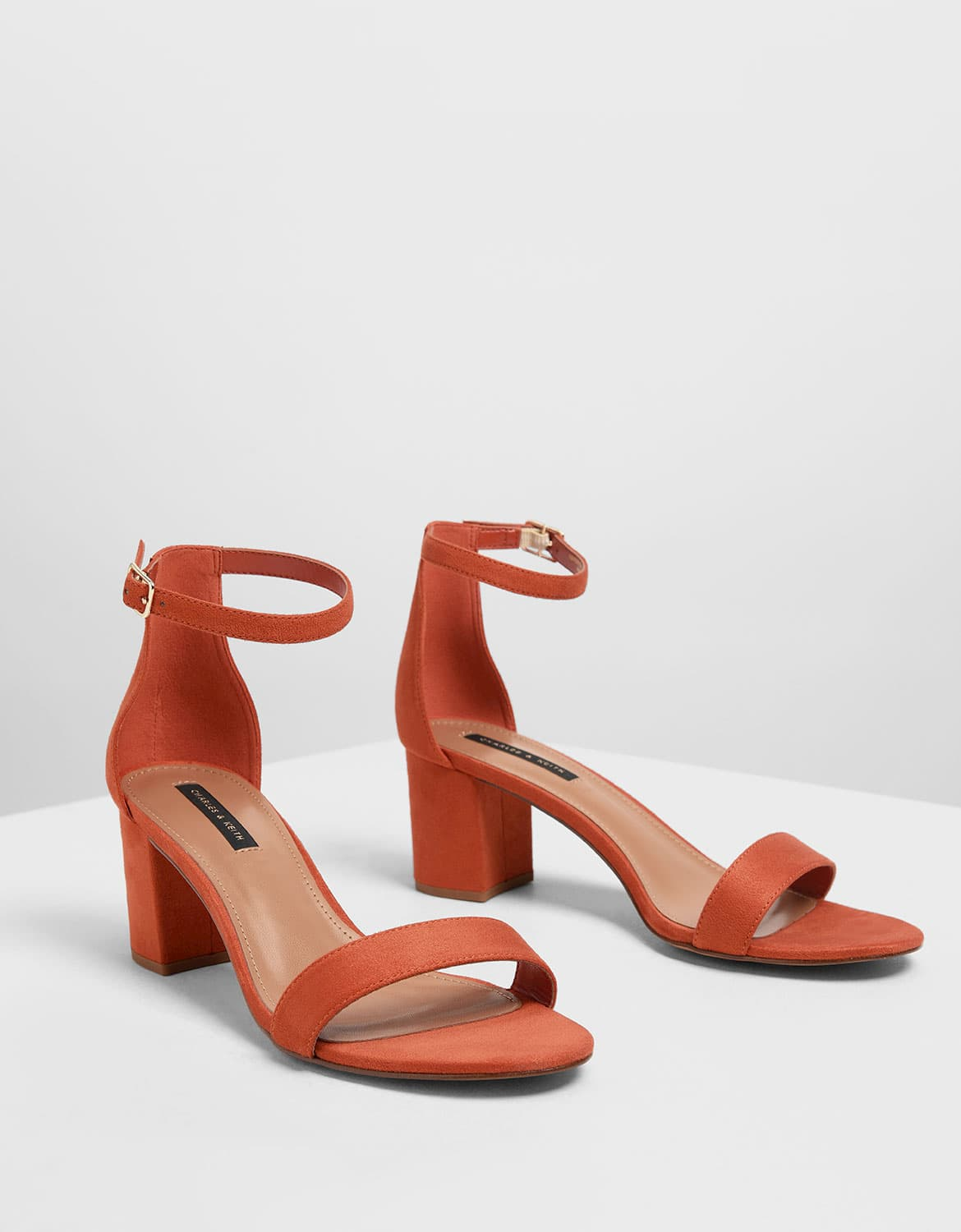 Women's block heel ankle strap in brick – CHARLES & KEITH