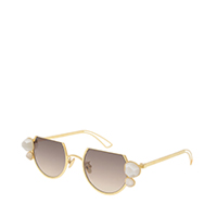 SWAROVSKI CRYSTAL PEARL EMBELLISHED CUT OFF ROUND SUNGLASSES
