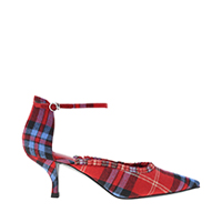 FRILL TRIM CHECK PRINT SCULPTURAL KITTEN HEEL PUMPS