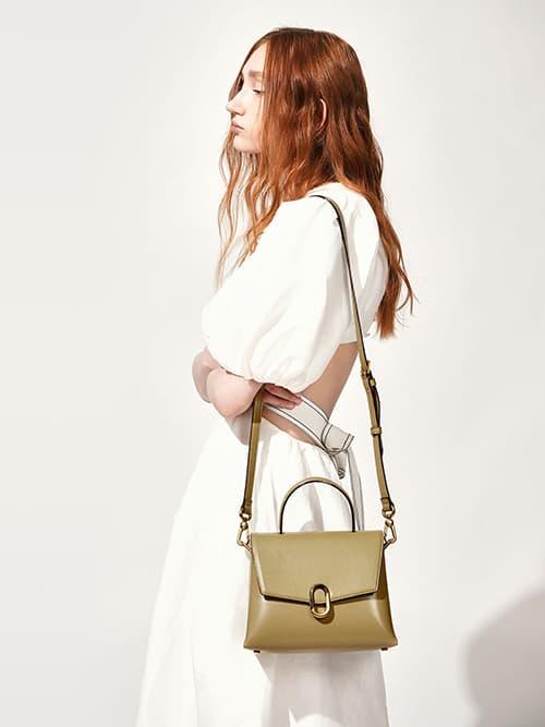 Stone-Embellished Handbag, Khaki