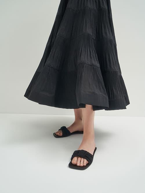 百褶扭結拖鞋,黑色