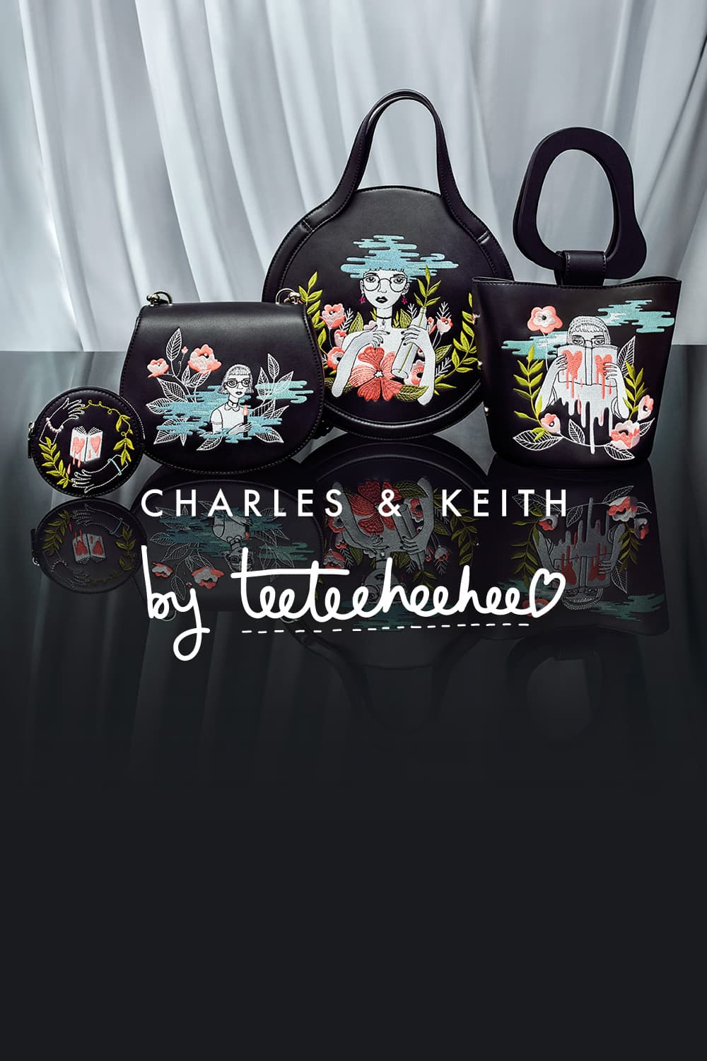 CHARLES & KEITH BY TEETEEHEEHEE Full Collection: Women's Black Embroidered Round Tote Bag, Black Sculptural Handle Embroidered Bucket Bag, Black Embroidered Crossbody Bag and Black Embroidered Round Pouch- CHARLES & KEITH