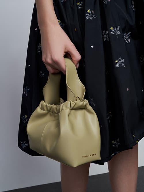 Pleated Hobo Bag, Taupe