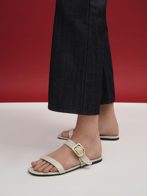 Woven Strap Slide Sandals, Chalk