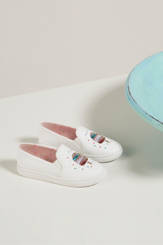 Girls' rainbow sprinkles motif sneakers in cream - CHARLES & KEITH
