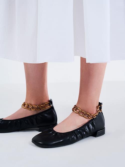 Chunky Chain Ankle Ballerina Flats