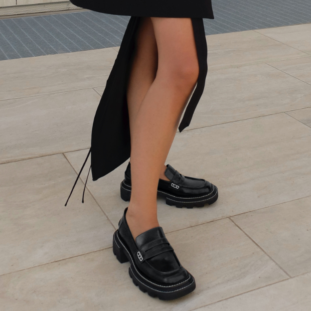 Women's Perline chunky loafers in dark brown, as seen on Gioia Giustino - CHARLES & KEITH