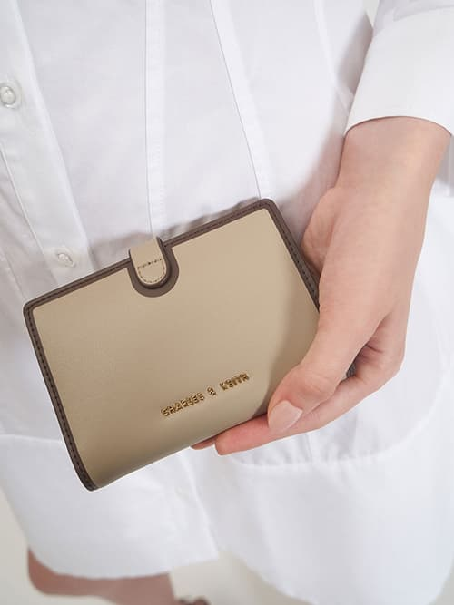 Snap Button Wallet, Taupe