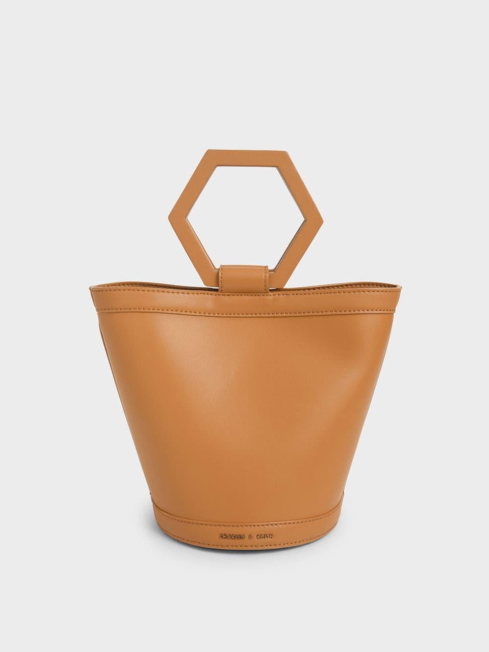 Geometric Handle Bucket Bag