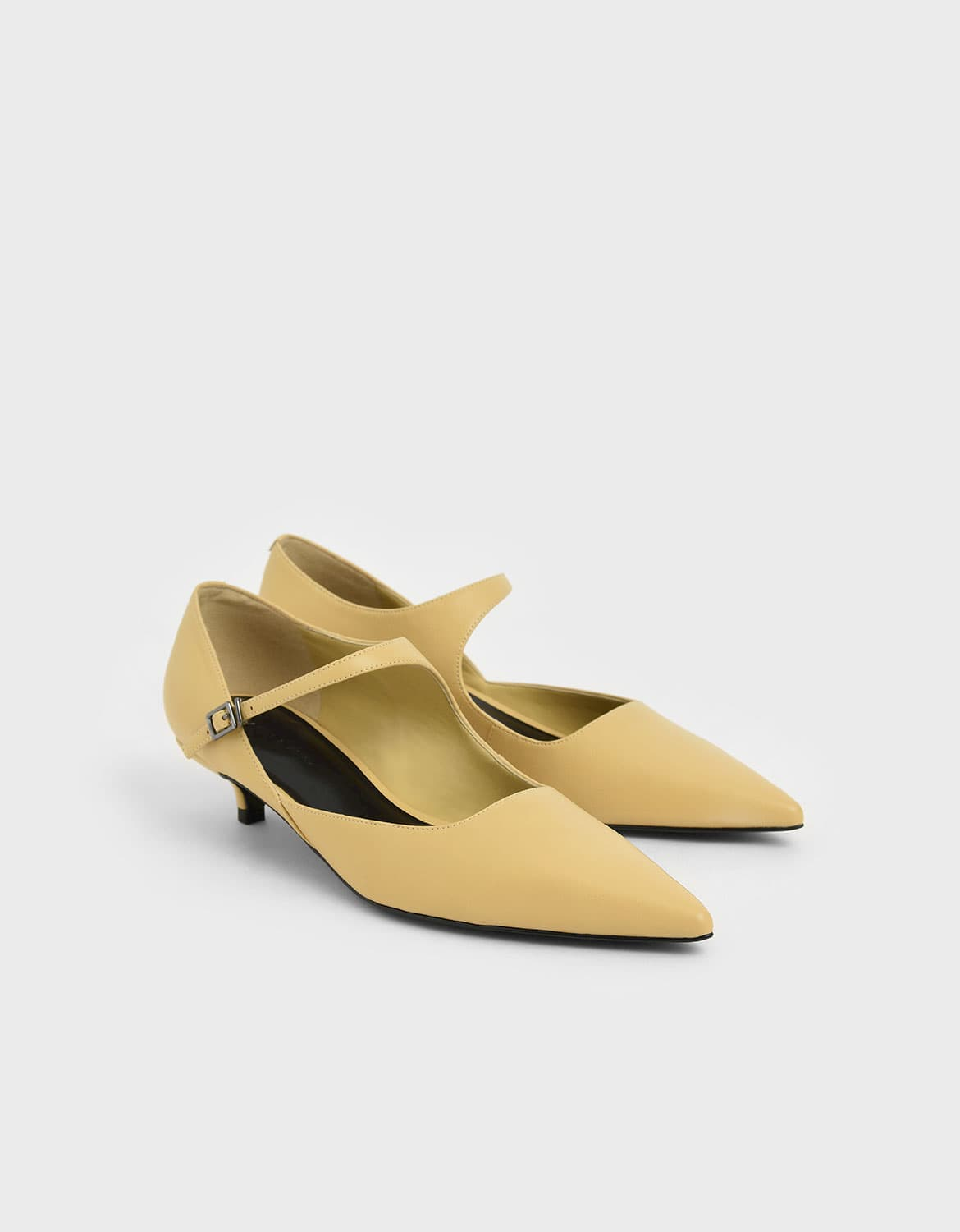 asymmetric Mary Jane kitten heels in yellow – CHARLES & KEITH