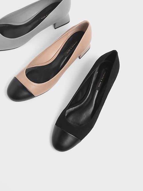 Round Toe Curved Block Heel Textured Pumps, Black, Grey, Nude