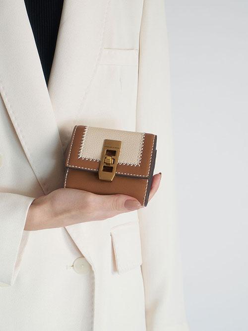 Stitch Trim Turn Lock Wallet, Ivory, Cream
