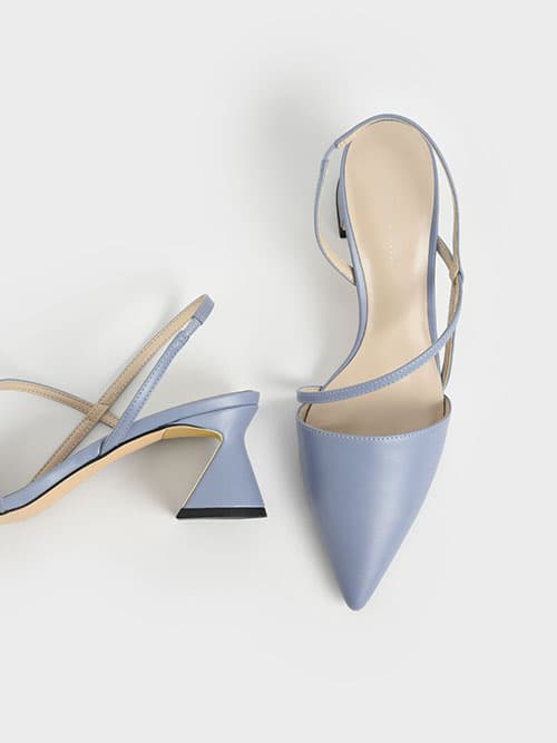 Asymmetric Strap Geometric Heel Pumps, Light Blue