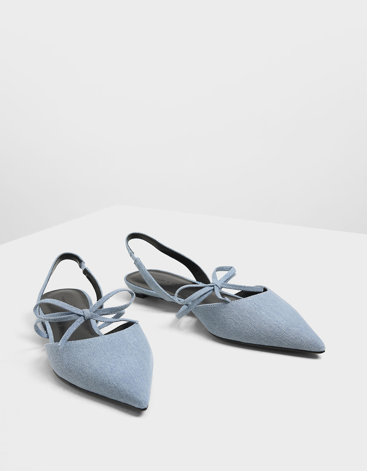 Women's Bow Strap Denim Slingback Flats in light blue - CHARLES & KEITH