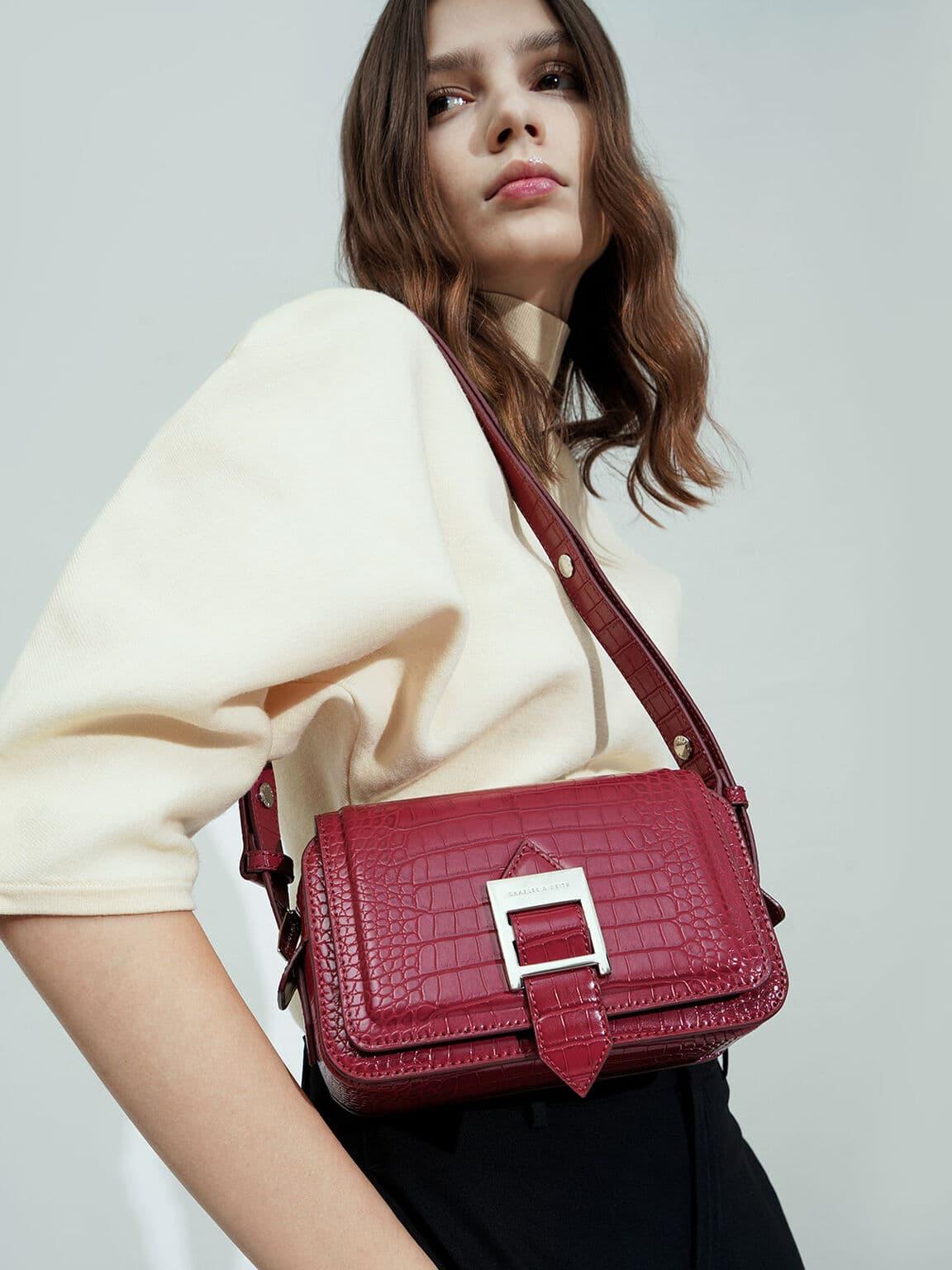 Buckle Strap Croc-Effect Shoulder Bag
