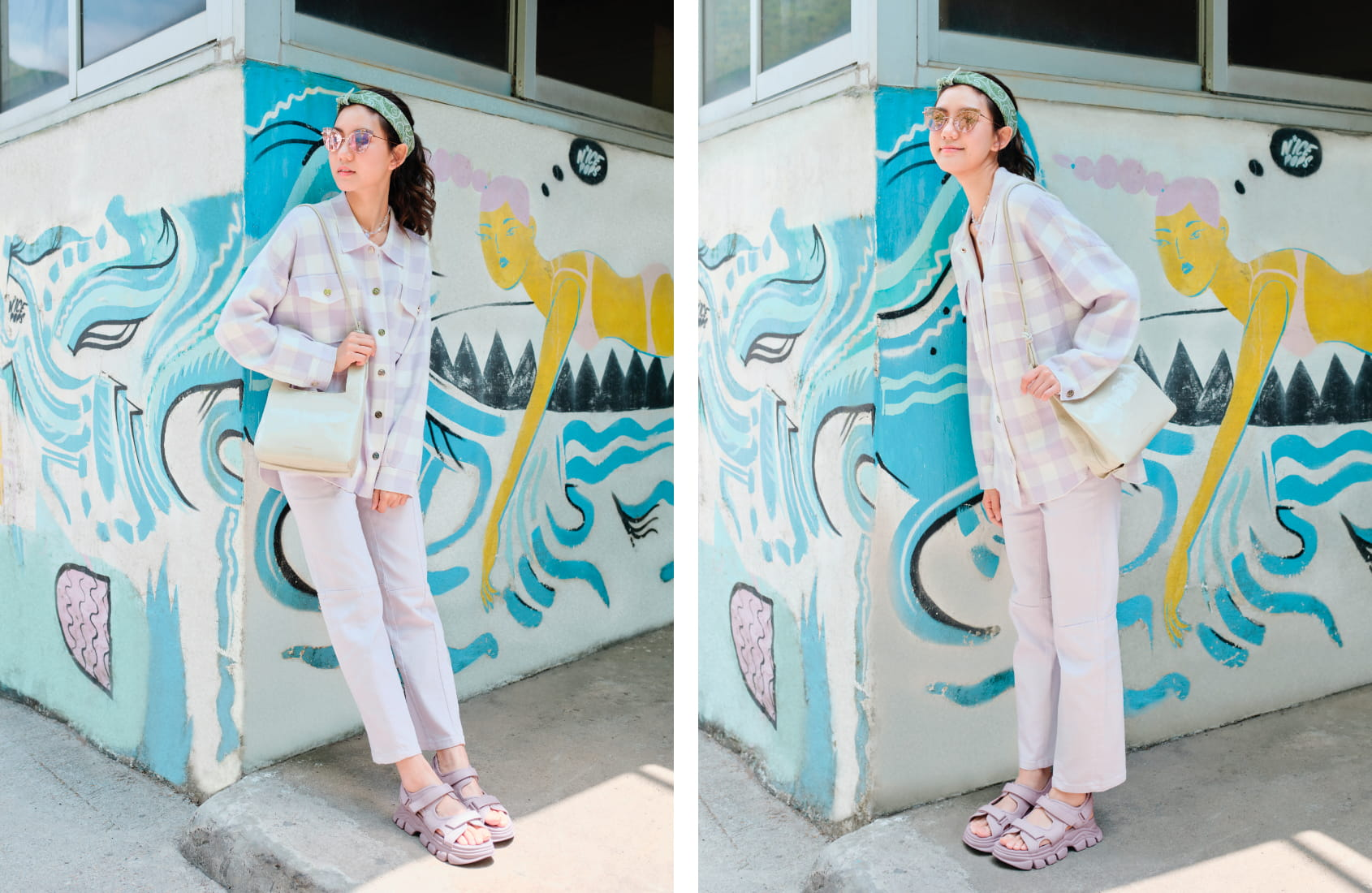 Women's chunky sports sandals in lilac, as seen on Ng Wing Sze - CHARLES & KEITH