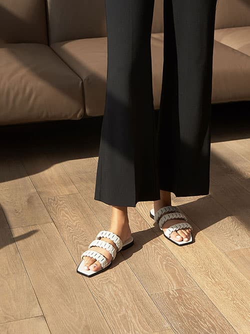 Leather Pleated Strap Slide Sandals, Chalk