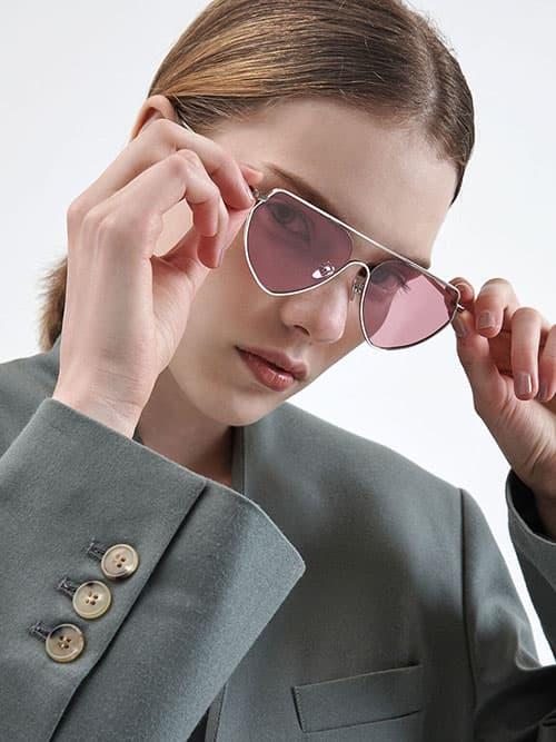 Thin Metal Frame Geometric Sunglasses, Pink