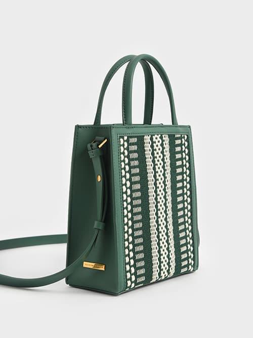 Woven Fabric Tote Bag, Green