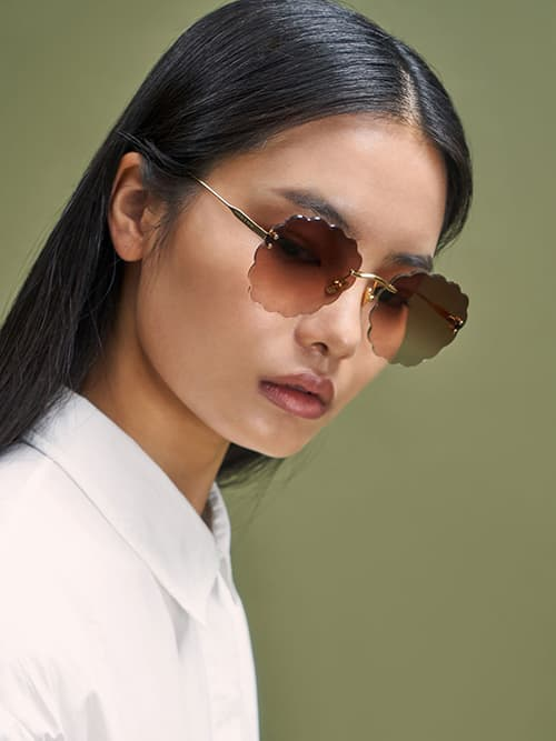 Scalloped Butterfly Sunglasses, Gold
