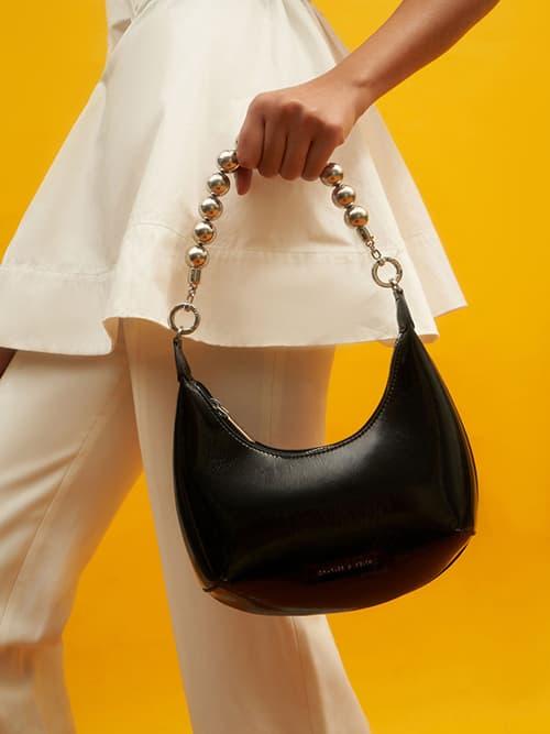 Beaded Handle Patent Hobo Bag, Black