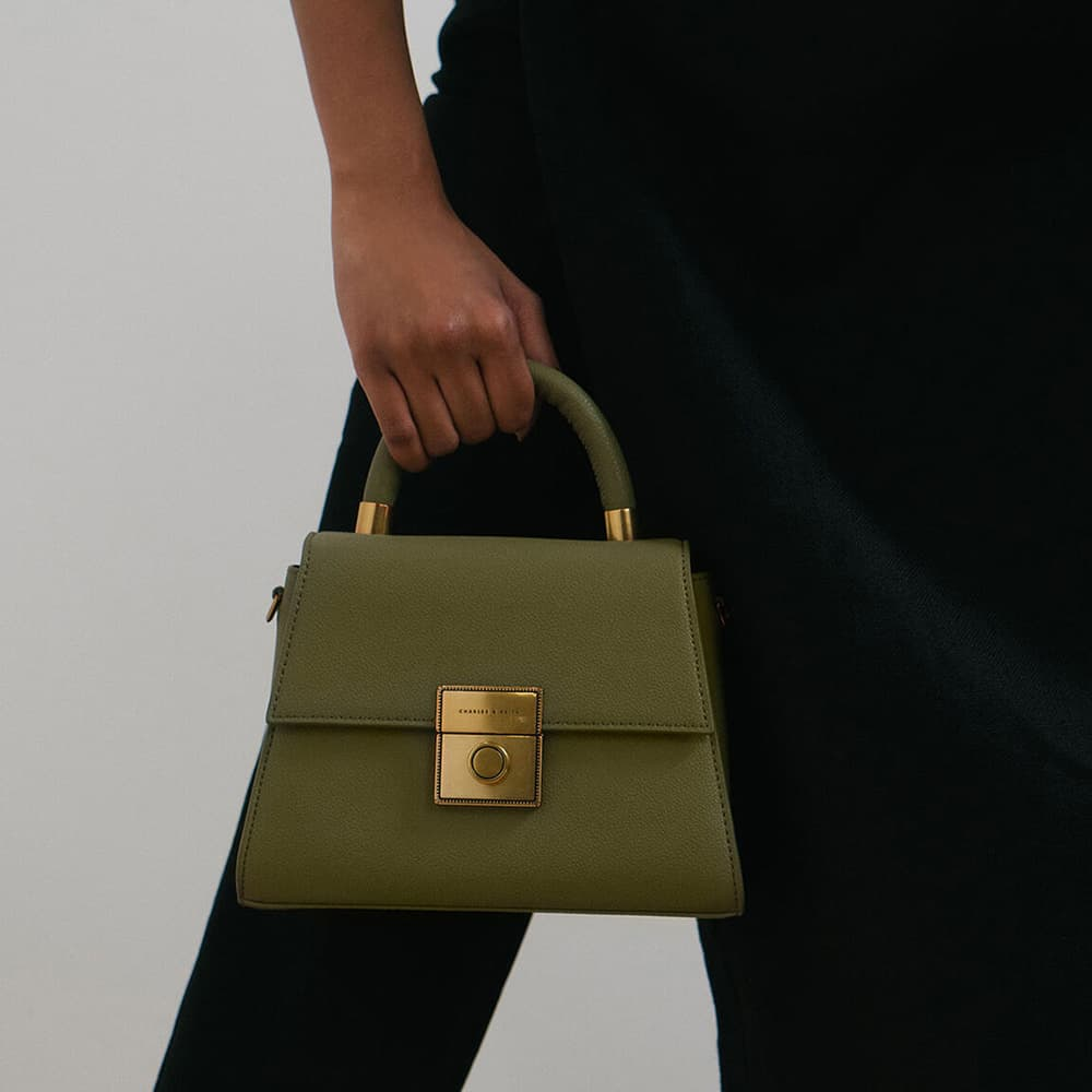 Women's trapeze top handle bag in sage green - CHARLES & KEITH