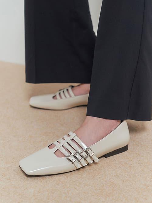 方頭多帶瑪莉珍鞋,石灰白