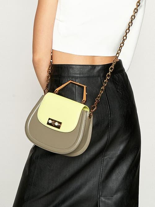 Geometric Top Handle Saddle Bag, Lime