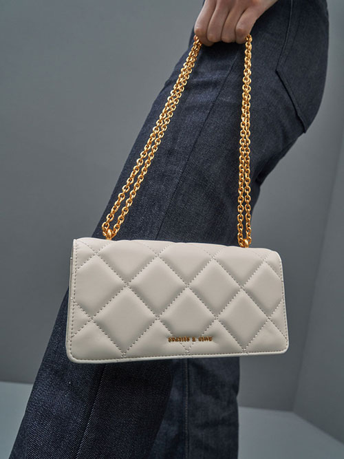 Chain Handle Quilted Long Wallet, Cream, Mustard