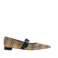 LEATHER CHECK PRINT BUCKLE MARY JANES