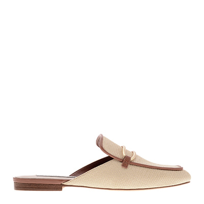 RAFFIA METALLIC BUCKLE LOAFER MULES