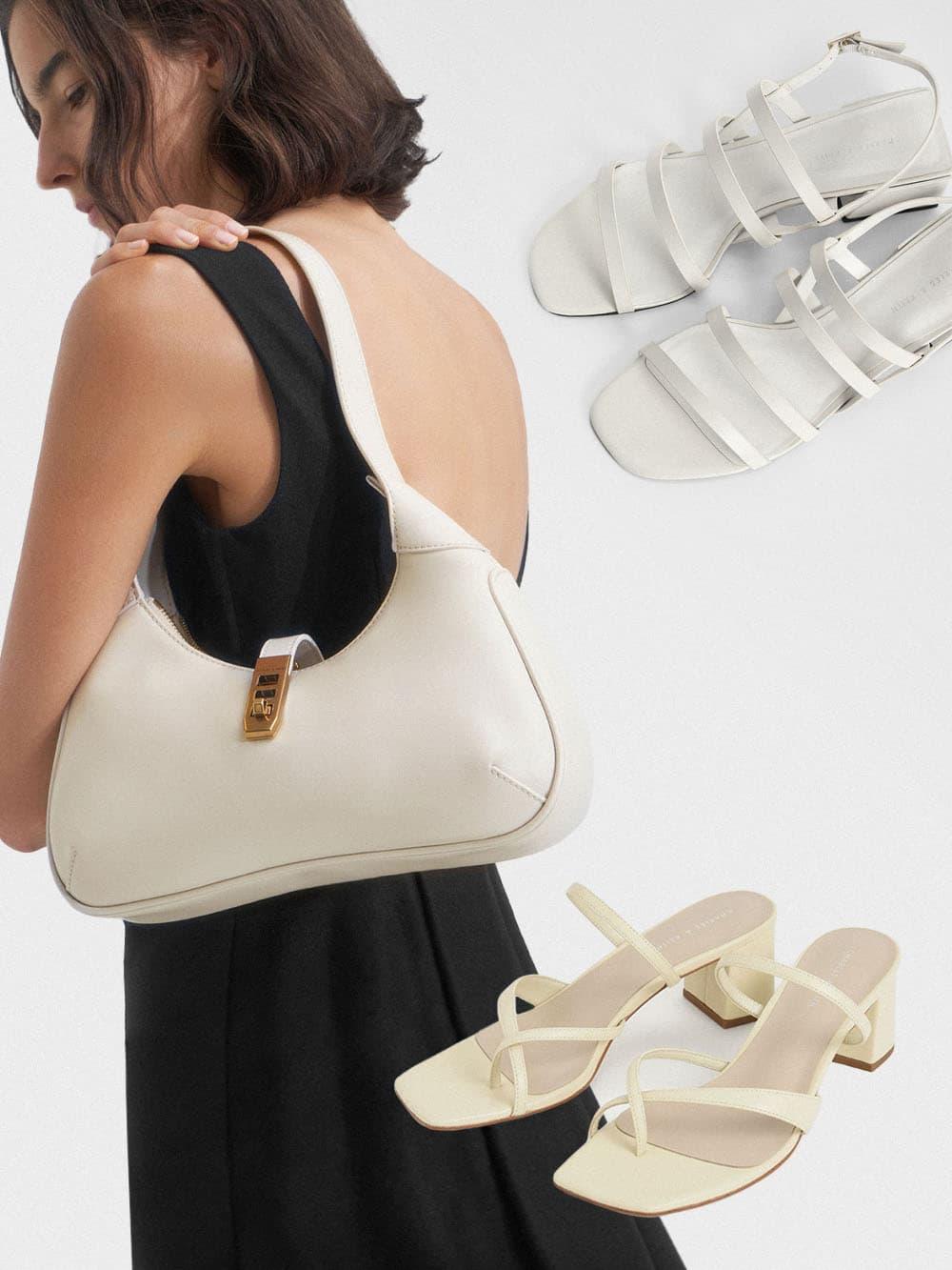 Women's cream metallic accent hobo bag, chalk strappy geometric slingback sandals and chalk block heel toe loop sandals - CHARLES & KEITH