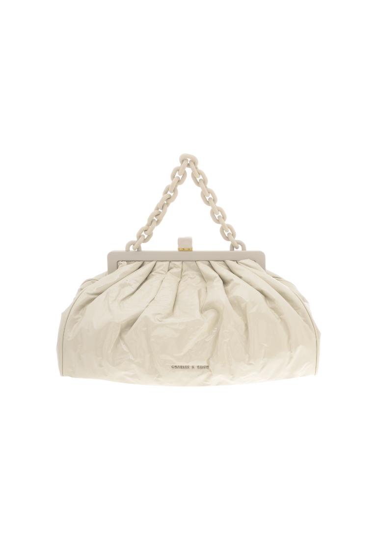 Women's patent chain handle clutch in beige - CHARLES & KEITH