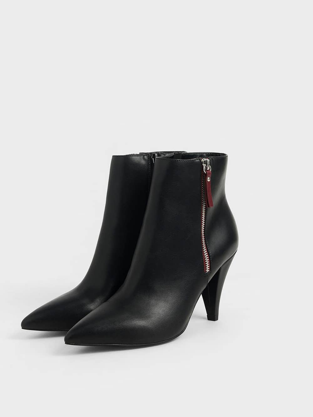 Double Zip Pointed Toe Ankle Boots