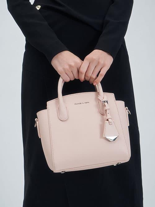 經典拉鍊手提包,淺粉色