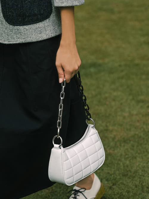 Quilted Chain Shoulder Bag, White