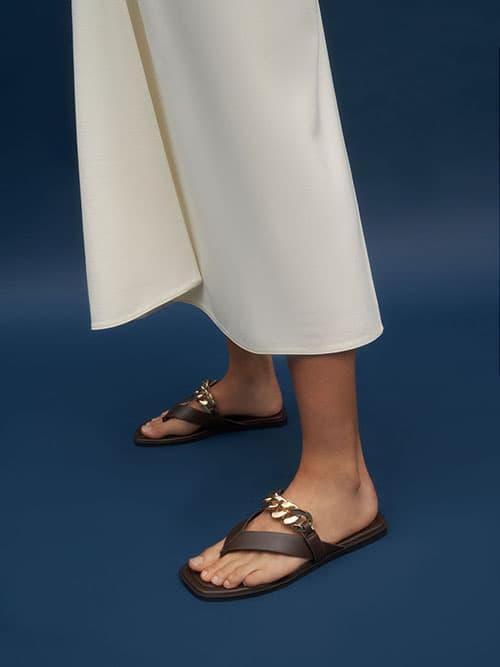 Chain Strap Thong Sandals, Dark Brown