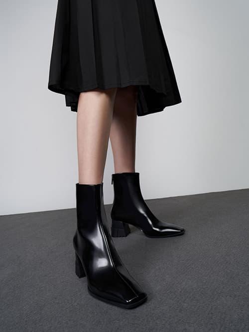 Zip-Up Block Heel Ankle Boots, Black