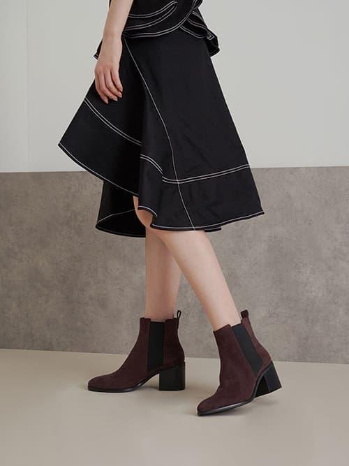 Textured Block Heel Chelsea Boots, Purple