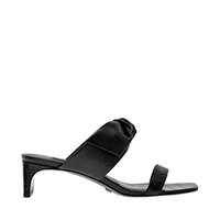 Croc-Effect Bow Leather Mules
