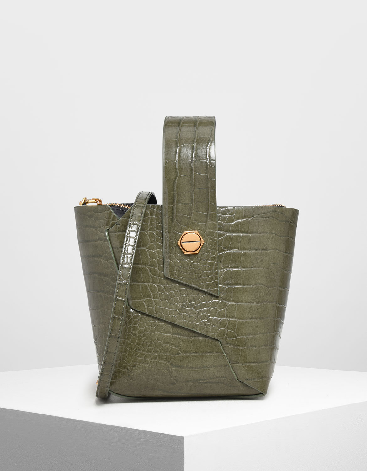 Women's Croc-Effect Wristlet Handle Bucket Bag in olive - CHARLES & KEITH