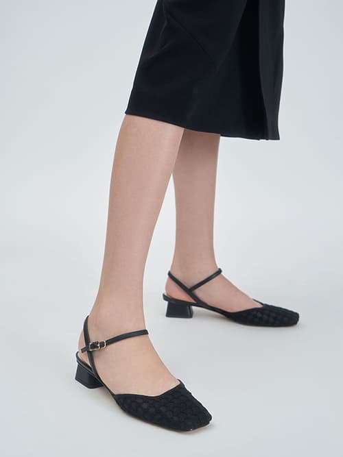 Lace Square Toe Pumps, Black